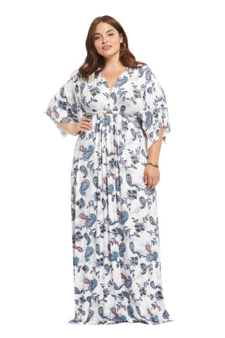 Long Caftan Dress - Paisley, Plus Size