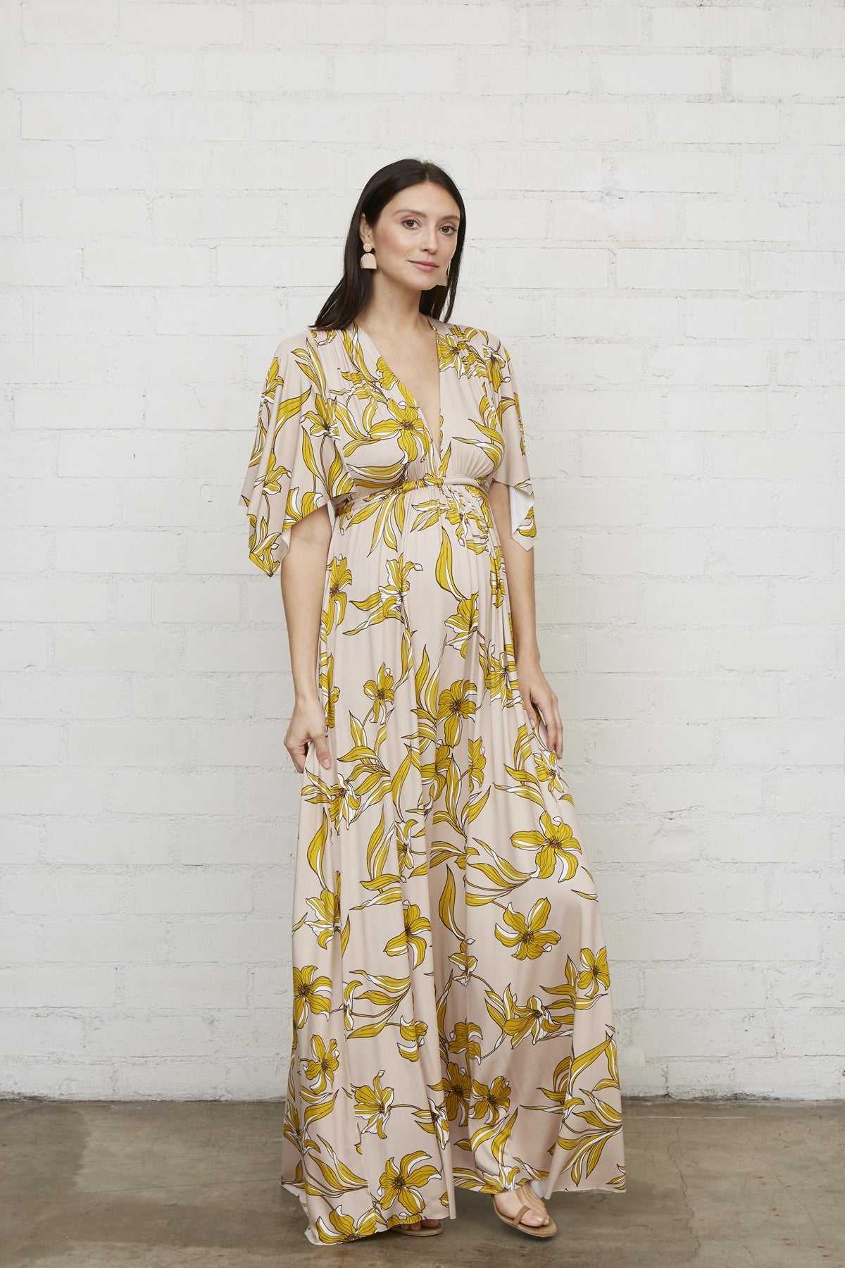 Long Caftan Dress - Striped Lily, Maternity