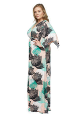Long Caftan Dress WL Print - Agave
