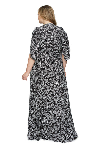 Long Caftan Dress Wl Print - Black Jardin