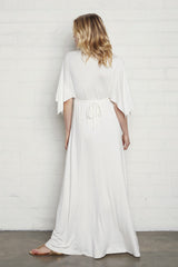 Long Caftan Dress- White, Maternity