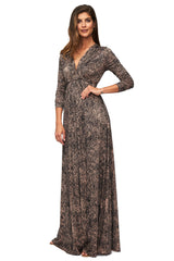 Long Sleeve Full Length Caftan - Black Kinetic