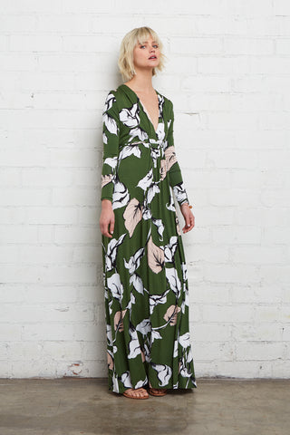 Long Sleeve Full Length Caftan - Calla Print