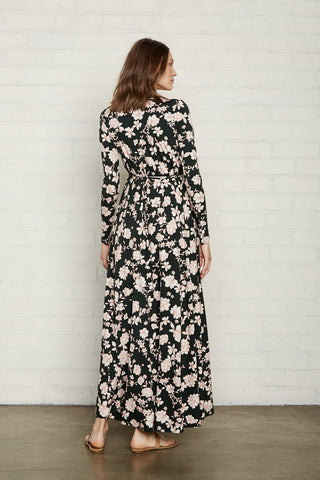 Long Sleeve Full Length Caftan - Evergreen Floral, Maternity