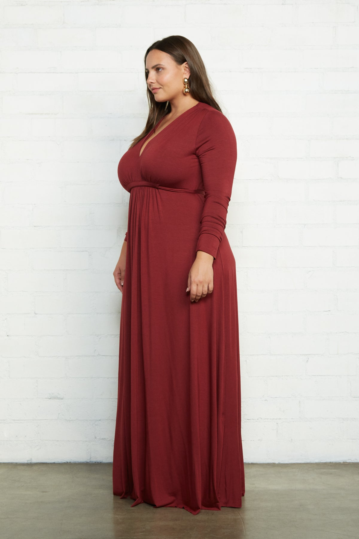 Long Sleeve Full Length Caftan Dress - Gamay, Plus Size