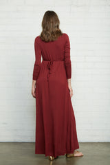 Long Sleeve Full Length Caftan Dress - Gamay, Maternity