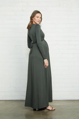 Long Sleeve Full Length Caftan Dress - Juniper, Maternity