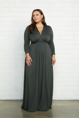 Long Sleeve Full Length Caftan Dress - Juniper, Plus Size
