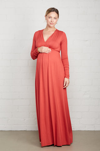 Long Sleeve Full Length Caftan Dress - Mineral, Maternity