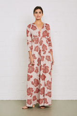Long Sleeve Full Length Caftan Dress - Ruby Matilija