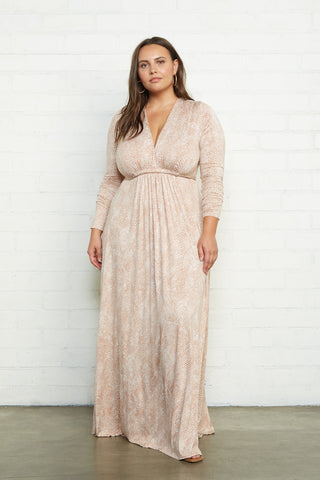 Long Sleeve Full Length Caftan Dress - Snake, Plus Size