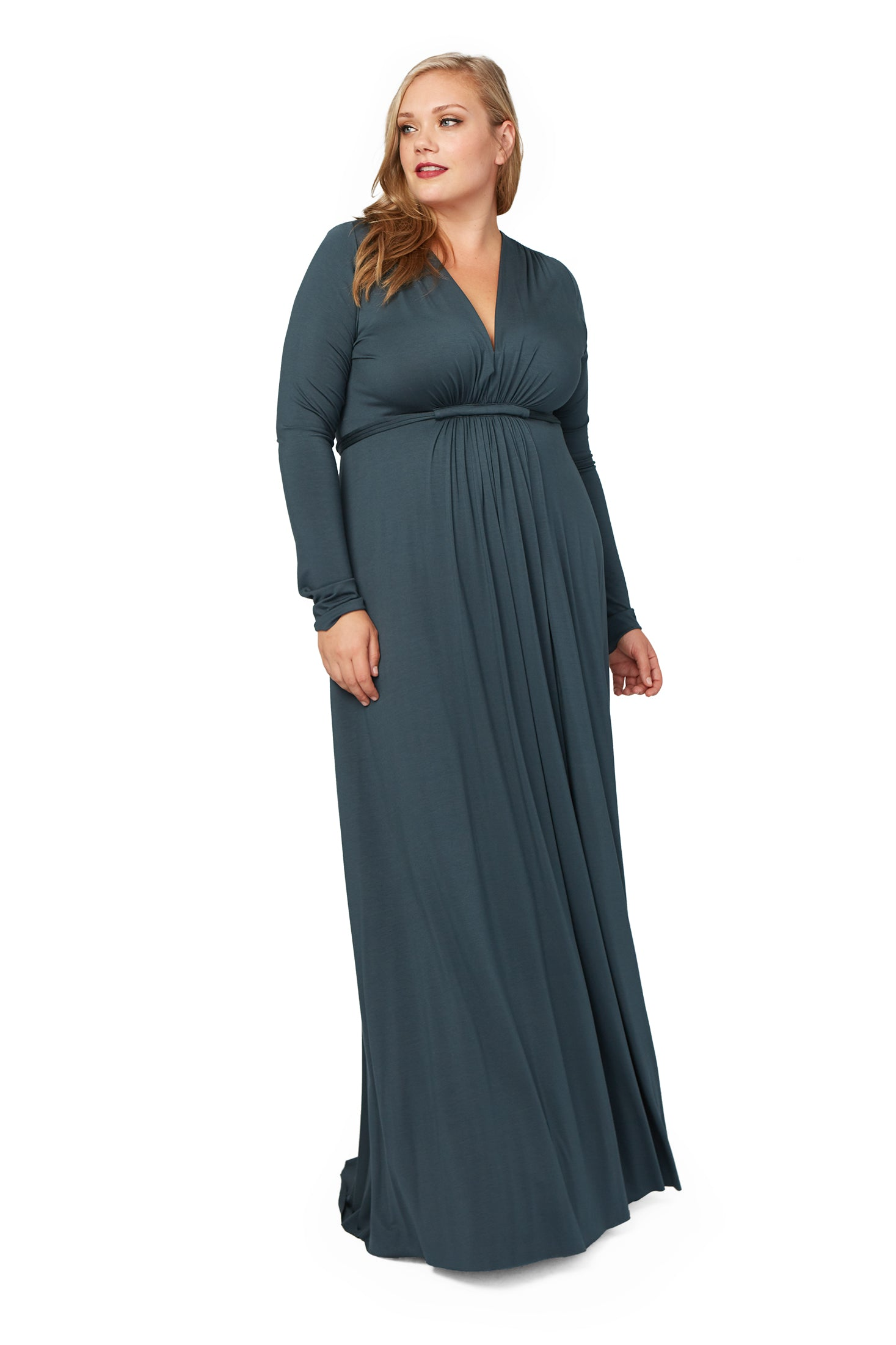Long Sleeve Full Length Caftan Dress WL - Elm