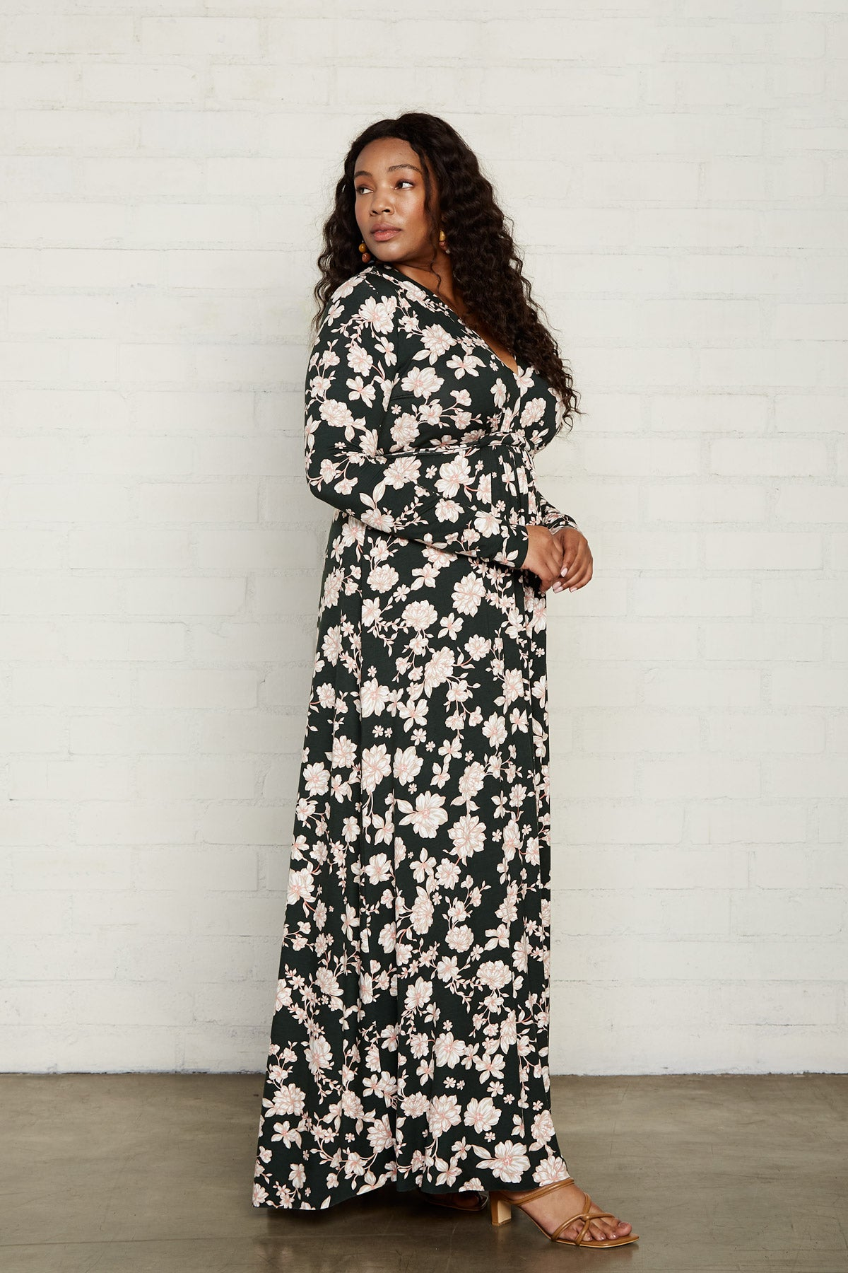 Long Sleeve Full Length Caftan - Evergreen Floral, Plus Size