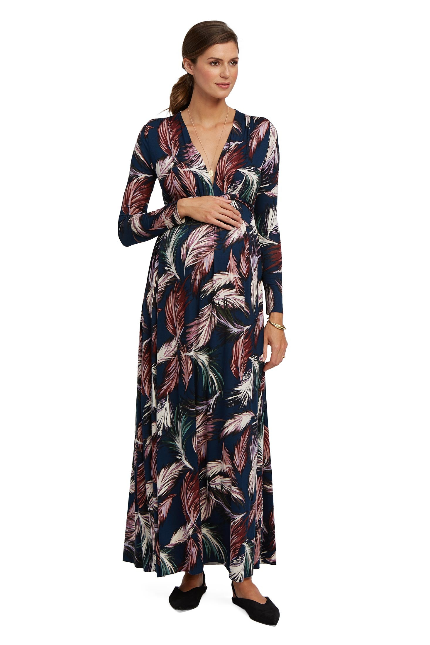Long Sleeve Full Length Caftan - Feather Print, Maternity