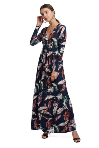 Long Sleeve Full Length Caftan - Feather Print