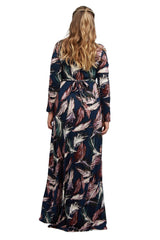 Long Sleeve Full Length Caftan - Feather Print, Plus Size
