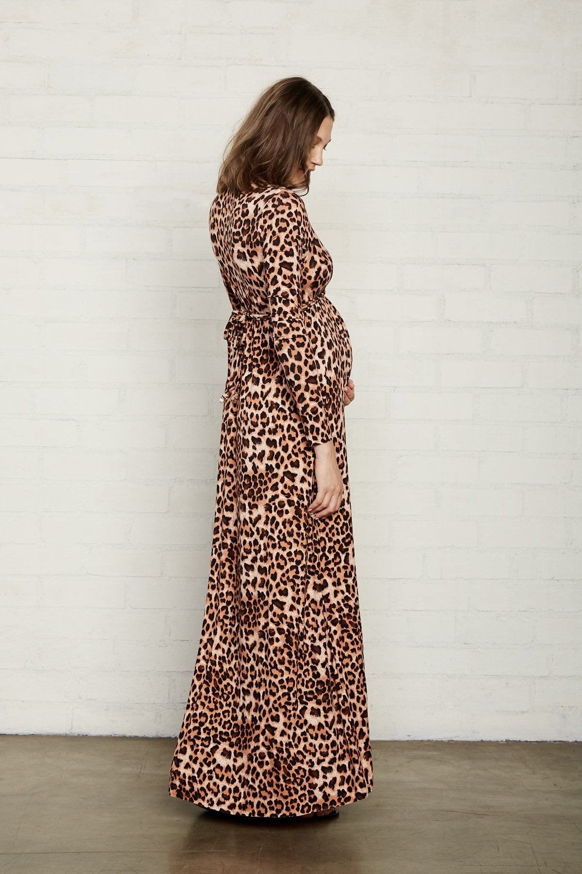 Long Sleeve Full Length Caftan - Leopard, Maternity