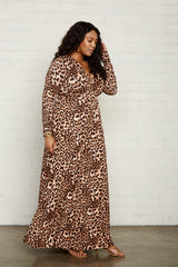 Long Sleeve Full Length Caftan - Leopard, Plus Size