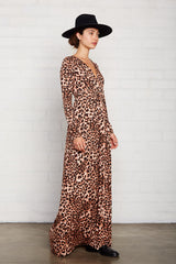 Long Sleeve Full Length Caftan - Leopard