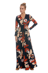 Long Sleeve Full Length Caftan - Pop Floral
