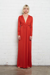 Long Sleeve Full Length Caftan - Poppy