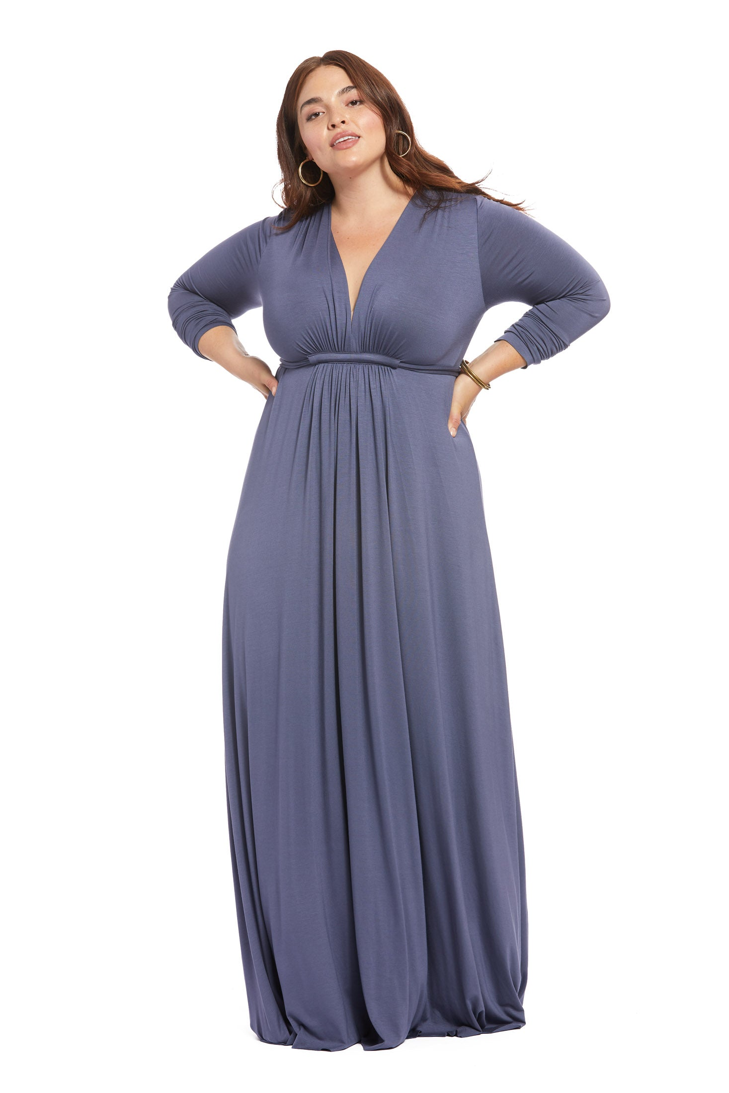 Long Sleeve Full Length Caftan - Slate, Plus Size
