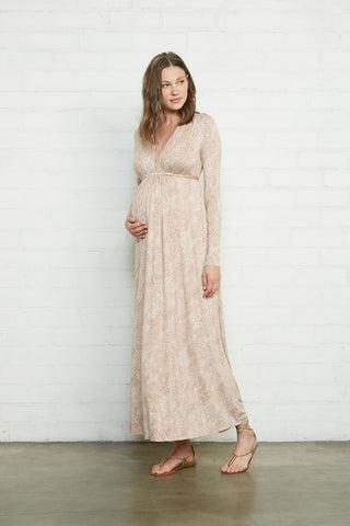 Long Sleeve Full Length Caftan - Snake, Maternity