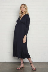 Long Sleeve Mid-Length Caftan - Black, Maternity