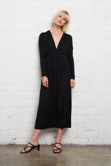 Long Sleeve Mid-Length Caftan - Black