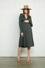 Long Sleeve Mid-Length Caftan Dress - Juniper, Maternity