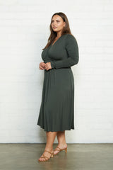 Long Sleeve Mid-Length Caftan Dress - Juniper, Plus Size