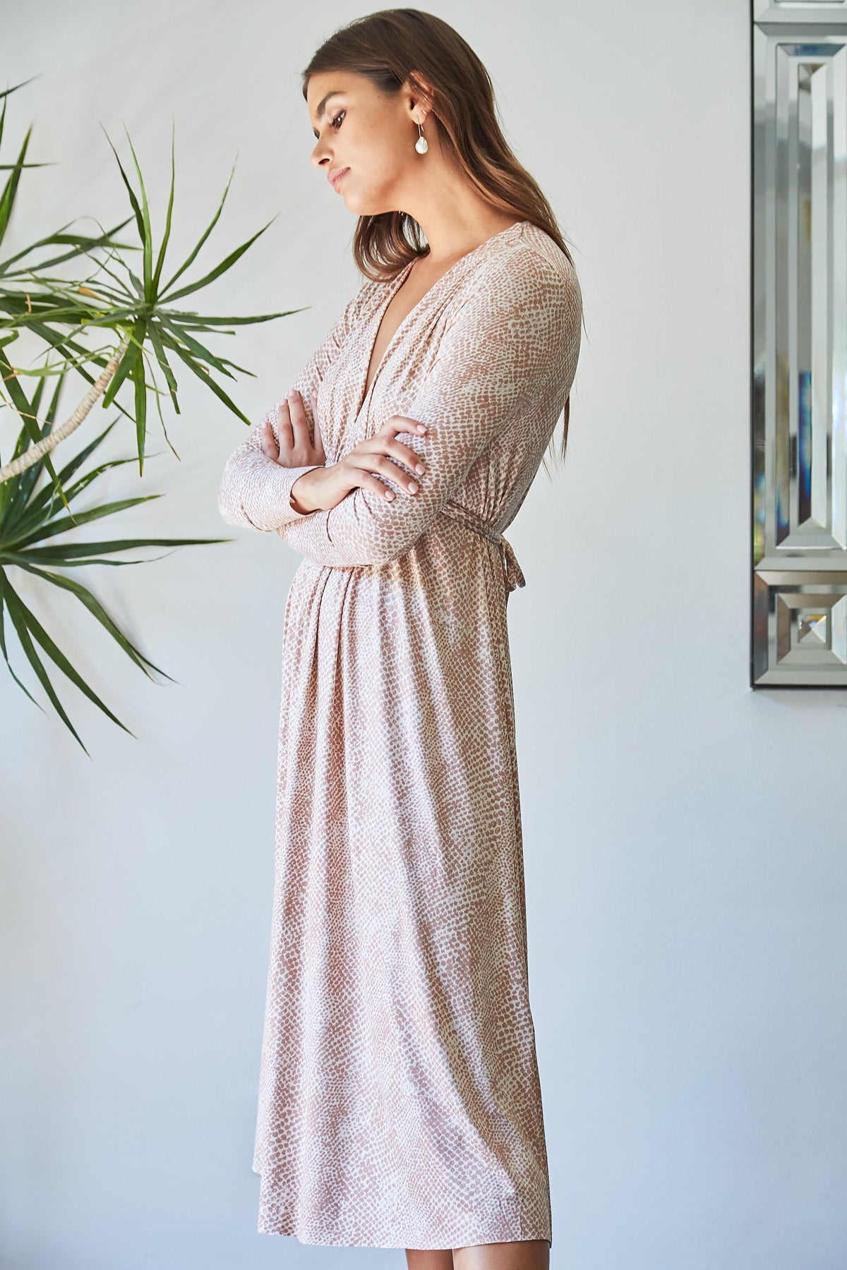 Long Sleeve Mid-Length Caftan Dress - Snake