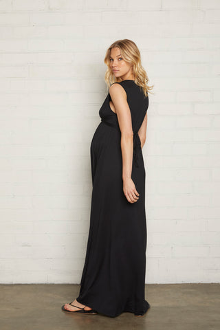 Long Sleeveless Caftan - Black, Maternity
