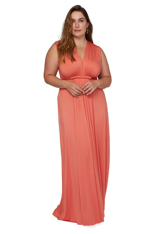 Long Sleeveless Caftan - Coral, Plus Size