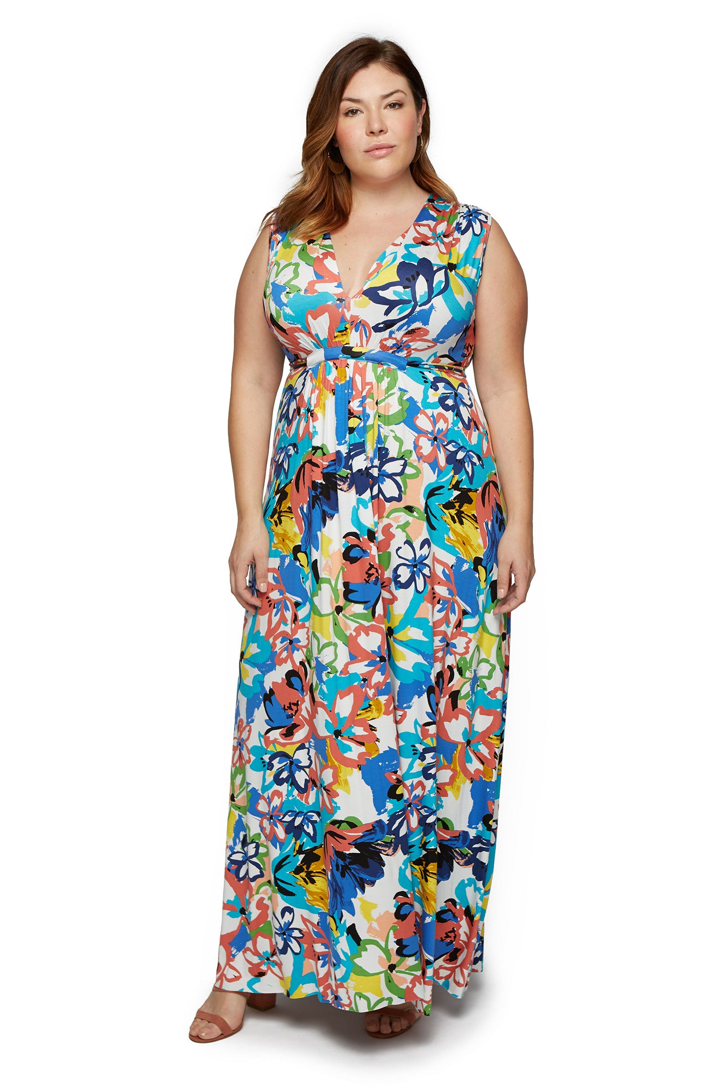 Long Sleeveless Caftan Dress WL - Flores