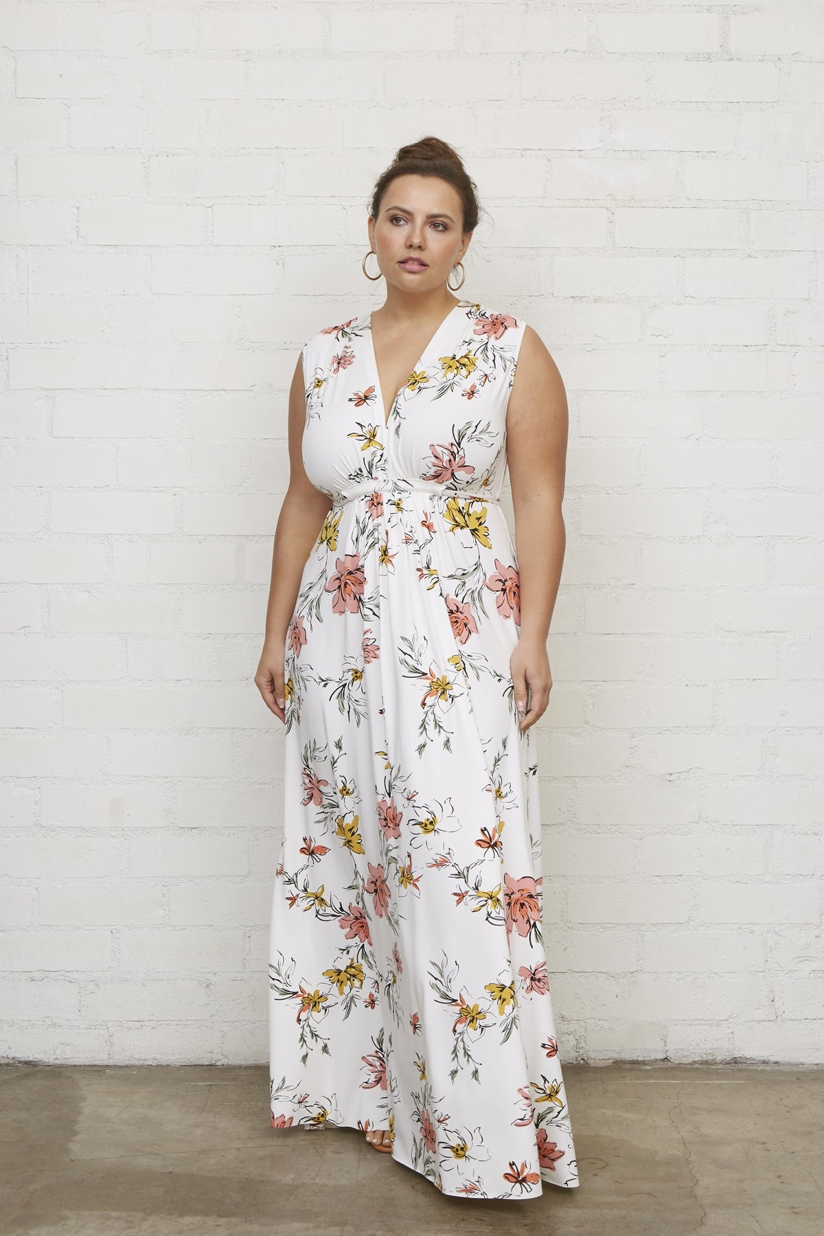 Long Sleeveless Caftan - Wildflower, Plus Size