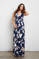 Long Sleeveless Caftan - Navy Calla Print, Maternity