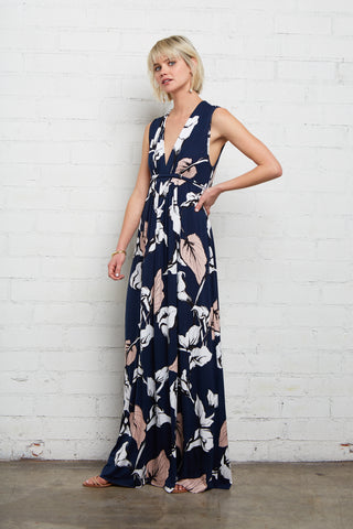 Long Sleeveless Caftan - Navy Calla Print