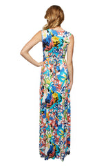 Long Sleeveless Caftan Print - Flores