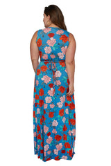 Long Sleeveless Caftan - Rose, Plus Size