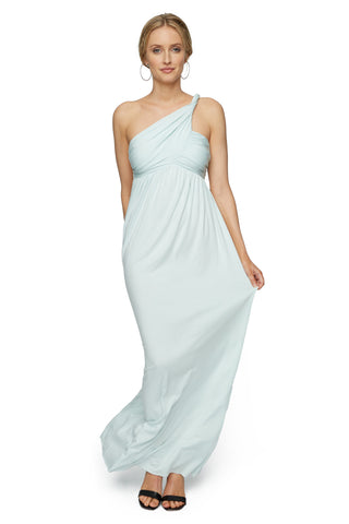 LONG TWIST SHOULDER DRESS - CLOUD