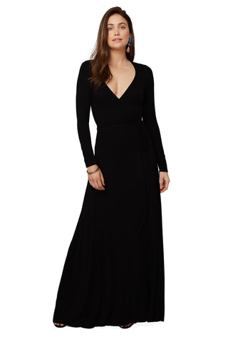 Long Wrap Dress - Black