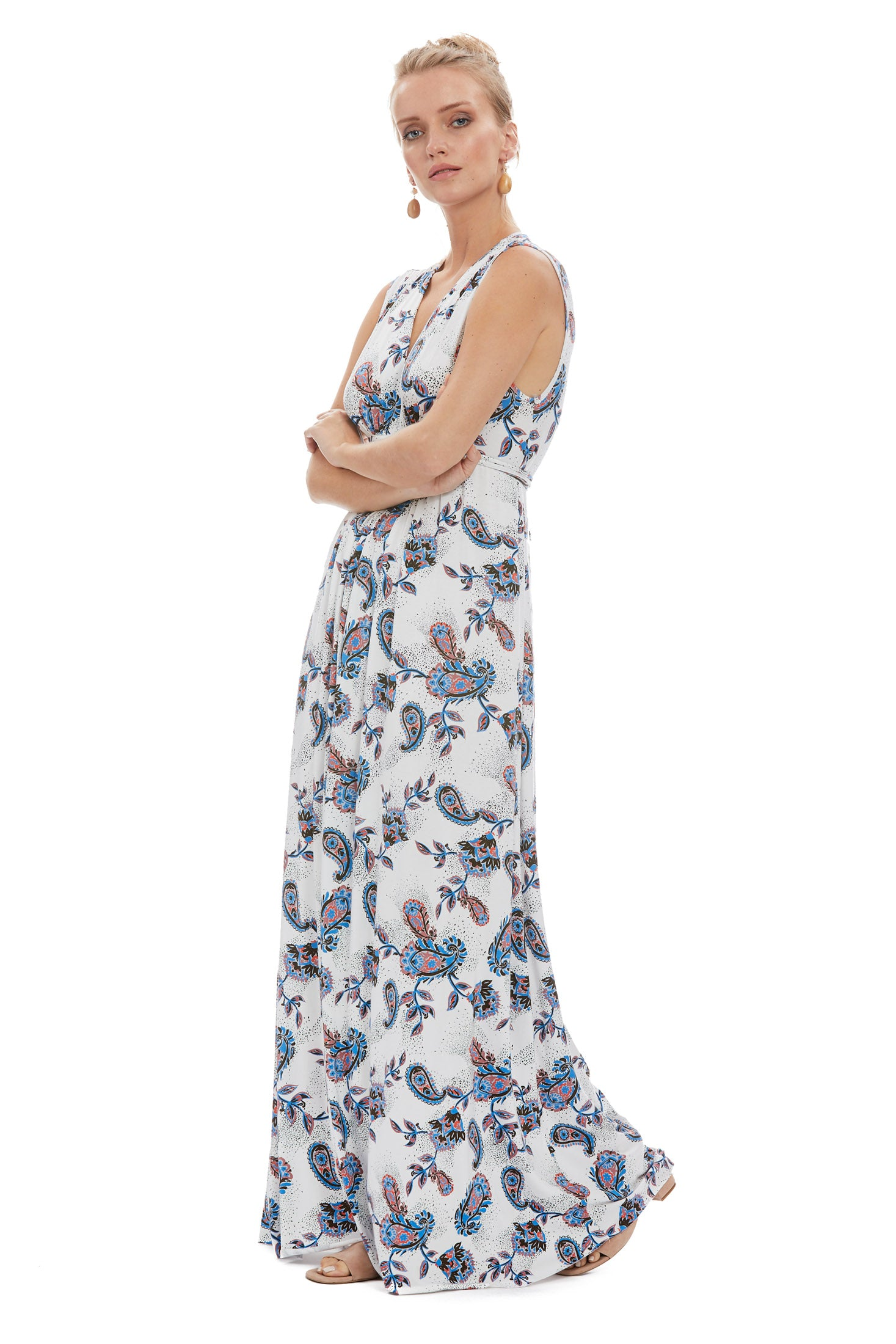 Long Sleeveless Caftan - Paisley