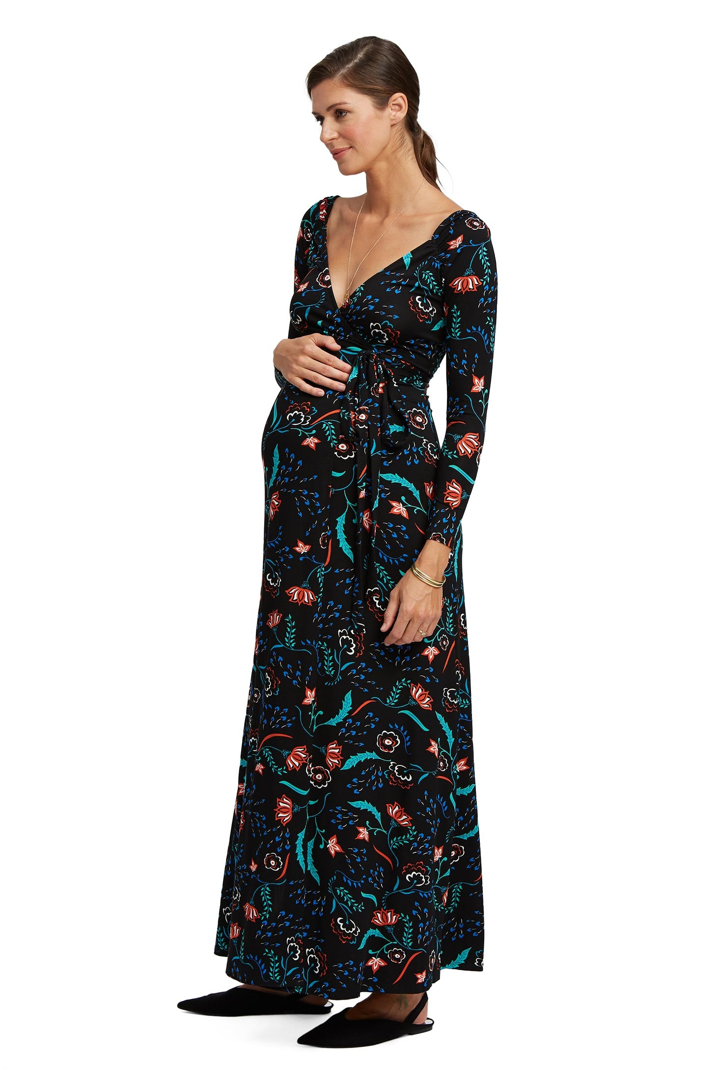 Luna Wrap Dress - Vine, Maternity