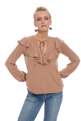 Luxe Rib Frida Top - Latte