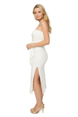 Luxe Rib Strapless Bow Dress - Ivory