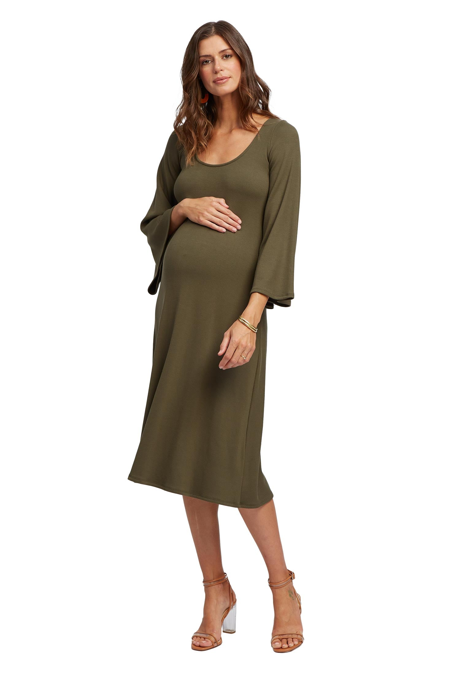 Luxe Rib Thora Dress - Cypress, Maternity