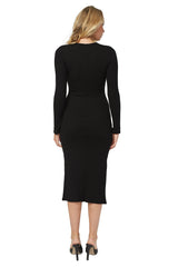 Luxe Rib Tie Neck Sheath Dress - Black
