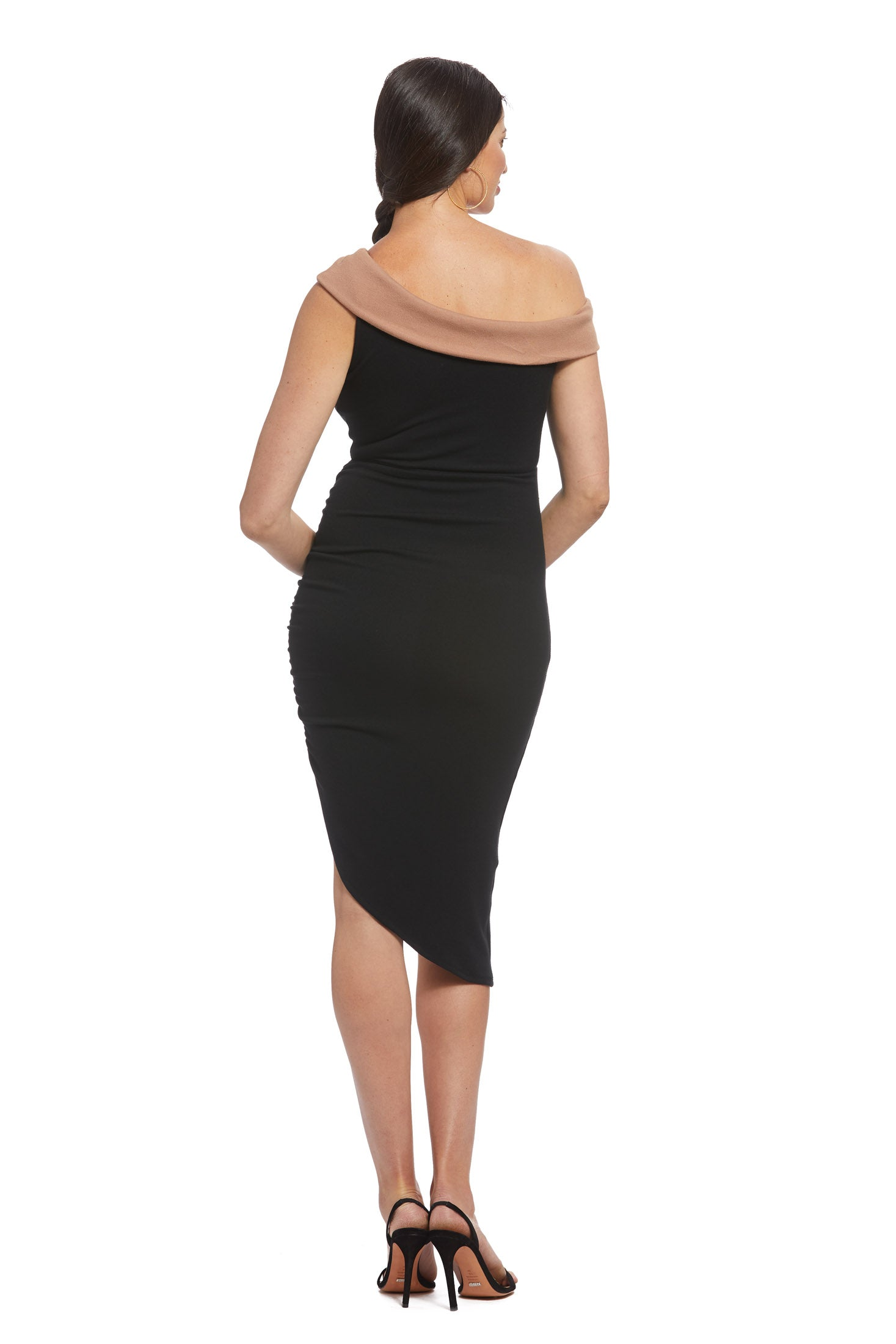 Luxe Rib Two-Tone Stella Dress - Black, Maternity