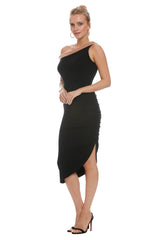 Luxe Rib Two-Tone Stella Dress - Black